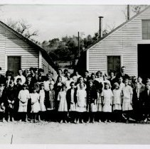Image of Print, Photographic - B&W photo showing students and teachers in front of Atascadero's first school - June1915.
