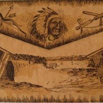 Image of postcard, fold out, back, images of Indigenous man and flags L995.d.037.002