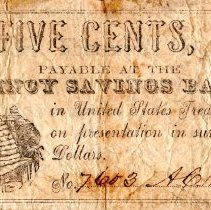Image of Five Cent Bank Note of Quincy Savings Bank