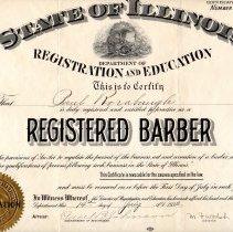 Image of Certifcate, Barber Registration of Paul Rorabaugh