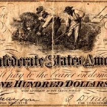 Image of Currency, Confederate $100 Bill