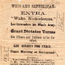 Image of Newspaper Clipping, 1865 Whig and Republican-Extra