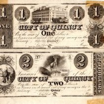 Image of Scrip, City of Quincy, $1 and $2 / Paper money