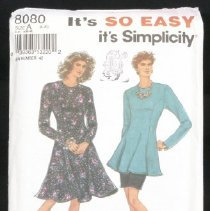 Image of Misses'/miss petite dress of tunic and slim skirt Simplicity 8080, 9 pieces Fit and flared, princess seamed dress or tunic has back zipper and long set-in sleeves. Pull-on skirt with elasticized waistline has back hemline vent. Size: A (8-20)