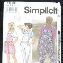 Image of Misses' knit overalls in three lengths and top in two lengths