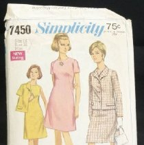 Image of Dress and jacket in misses' and women's sizes Simplicity 7450, 15 pieces The collarless a-line dress has lowered round neckline and back zipper. View 1 and 2 have short set-in sleeves. View 3 is sleeveless. The lined jacket view 1 and 3 have an Italian-type collar, set-in sleeves, flaps and optional front button closing. View 1 has about wrist-length sleeves. View 3 has short sleeves. Size: miss 16
