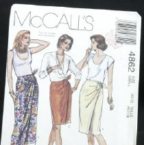 Image of Misses' mock-wrap skirt McCall's 4862, 5 pieces Misses' nock-wrap skirt in three lengths, has a bandless waist, darts and front tie ends. Size: miss small (10-12)