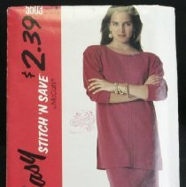 Image of Misses' two-piece dress McCall's 5503, 7 pieces McCall's easy stitch 'n save Top with bateau neckline, dropped shoulders, front seaming and side slit; pull-on skirt has elastic at waist and side slit. Size: miss A (8-10-12)