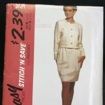 Image of Misses' unlined jacket and skirt McCall's 5734, 13 pieces McCall's stitch 'n save Front buttoned cropped jacket has optional welt pockets; slightly pegged skirt has back vent, front pleats, side pocket opening, flat front waist and double row of elastic at back. Size: miss A (6-8-10)