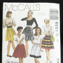 Image of Misses' skirts McCall's 6051, 6 pieces McCall's fashion basics Set of skirts with pleat variations has side zipper and waistband; views b and c have contrasting lower band; view b band is bias; for lengthwise striped fabric, view d skirt is cut crosswise. Size: miss 10