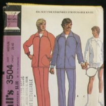 Image of Men's jog suit or sport jacket and racket cover McCall's 3504, 10 pieces Jacket with raglan sleeves, zippered pockets, separating zipper and knitted cuffs, may have elastic in back casing. Pants with elastic in waist casing, have lower leg zippers. Jacket or pants may have braid trim. Zippered racket cover has bound edges. Size: men medium