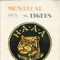 Image of Game program for Montreal Indians at Hamilton Tigers.