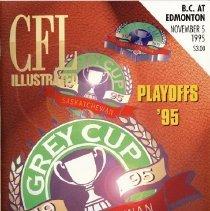 Image of Game program for B.C. Lions at Edmonton Eskimos. CFL Illustrated, 1995, Vol. 5, no. 10.