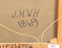 """Image of Signed """"J.H.W.H. 1869"""" on the reverse after artist signature"""
