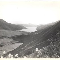 "Image of 06.1.185 - Written on the back of the photo: ""Lake Haakone as seen from the slopes of Mount Fujiyama."" ""Photo by John Bennewitz""