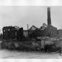 Image of 11.79.749 - TR-759  Nagasaki, Sept., Oct. 1945. Kyushu Power Plant 6500 ft. S of X on west bank.  Most of brick walls 1 ft. thick, some 1 foot 6 inches.
