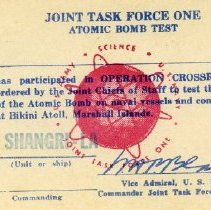 Image of Joint Task Force One Atomic Bomb Test Card