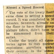 Image of Newspaper Clippings on atomic testing between 1963-1965