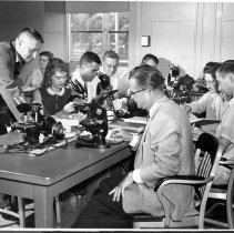 Image of Harold L. Stewart Photograph Collection - Dr. Ross MacCardle's histology class 1956-57