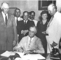 Image of Office of History Photograph Collection - President Franklin D. Roosevelt signing the Social Security Bill