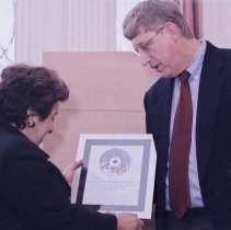 Image of NIH Directors - Donna Shalala and Francis Collins