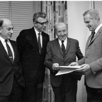 Image of Dr. Mark Kac with Drs. Robert Berliner, Arnold W. Pratt, and Robert Marston