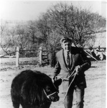 Image of Faces of NIH - Dr. Robert Huebner and an Angus bull