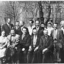 Image of Office of History Photograph Collection - American and Soviet virologists outside the Soviet Poliomyelitis Institute
