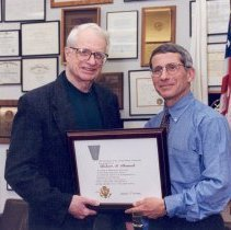 Image of National Institute of Allergy and Infectious Diseases - Anthony Fauci presents an award to Robert M. Chanock
