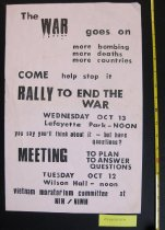 Image of 07.0008.002 - Viet Nam Moratorium Committee Rally Poster