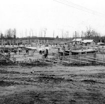 Image of Campus Buildings - April 1938 Buildings 1 and 3 construction progress