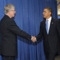 Image of NIH Director Francis Collins greets President Obama