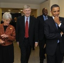 Image of HHS Director Sebelius, NIH Director Collins and President Obama