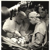 Image of Two surgeons with an assistant performing surgery