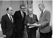 Image of Dr. Mark Kac with Drs. Robert Berliner, Arnold W. Pratt, and Robert Marston