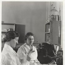 Image of Science Service - Margaret Pittman and Sadie Carlin test commerical meningitis serum