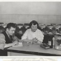 Image of Science Service - Sara E. Branham and Robert Forkish test inoculate mice with meningitis serum
