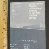 Image of Brochure: Computerized Medical Information System of the NIH Clinical Cente