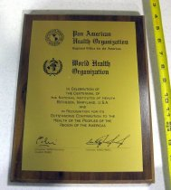 Image of 89.0001.347 - NIH Centennial, 1987: Pan American Health Organization/ World Health Organization Plaque