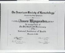 Image of NIH Centennial, 1987: Recognition by the American Society of Hematology