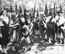 Image of 2012.13.1.1.4 - Girl scouts in Wood Park after Memorial Day parade 1959.