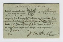 Image of Selective Service Registration Certificate of Wallace Howes