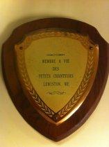 Image of Plaque - Life membership plaque, Petits Chanteurs of Lewiston