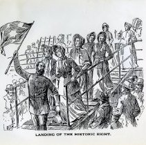 """Image of Two (2) copies of a 8""""x10"""" black and white drawing depicting the landing in New York City of George Scott Railton and the """"Splendid Seven.""""  The term """"splendid seven,"""" refers to the seven female Salvationists who first came to the United States of America on March 10,1880.   The women were led by George Scott Railton, and their group's arrival in New York made them the first officially authorized Salvation Army forces to reach the American continent.  The drawing has Railton marching down the ship's gangplank, proudly waving a Salvation Army flag.  The seven bonneted lassies follow closely behind.  An astonished crowd looks on."""