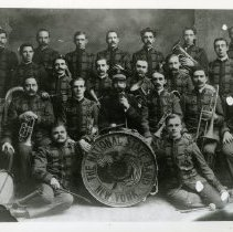 Image of A group portrait of the New York  National Staff Band, with 22 unidentified members (2 copies).