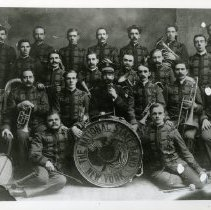 Image of A group portrait of the New York  National Staff Band, with 22 unidentified members.