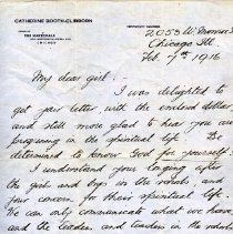 Image of This a letter from Catherine Booth-Clibborn to an unknown girl dated Feb 7, 1916.  The author expresses happiness that the girl is progressing in her spiritual life, and hopes she will become a mighty power for God.