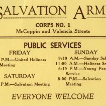 """Image of A  3""""x4"""" ticket for admission to Salvation Army Corps #1 located at McCoppin and Valencia Streets in San Francisco, CA.  It lists days and times of public services."""
