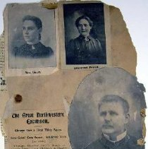 """Image of A page from an album, which contains 3 group pictures and 3 individual photos, plus one news clipping.  The clipping is titled """"The Great Northwestern Excursion"""".  Side 1 has  (1) Portrait of Mrs. Quast (2) Portrait of Lieutenant Powell (female) (3) Unknown uniformed male  Clipping about the openning of a corps cadets camp across Lake Michigan from Chicago   Side 2  (4) Group portrait of 12 uniformed females with musical instruments and copies of the War Cry. (5) Group portrait of 10 females dressed in white hooded robes, with shoulder corsages.  Each one is holding some object.  The objects are all the same, but identify is unclear.  (6) [partially missing]  Group portrait of 12 uniformed males and 2 uniformed females (seated).  The men have band instruments.  The picture is taken outdoors."""