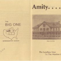 """Image of A two-side brochure describing the Salvation Army Amity settlement in Colorado.  Published by the SA Intermountain Division.  The front carries a sub-title """" The Landless Man to the Manless Land""""."""